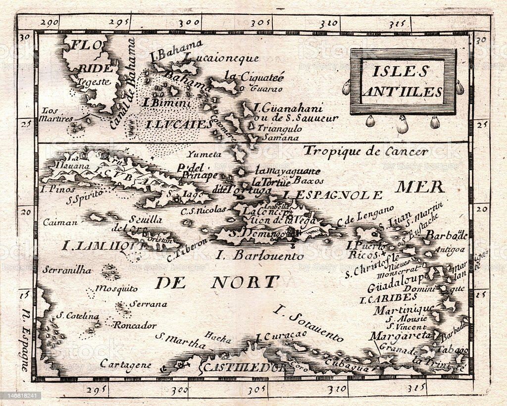 Antique DuVal Map of the West Indies stock photo