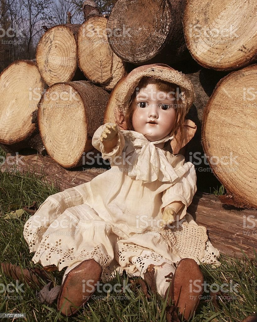 Antique Eaton Doll by Wood Pile stock photo