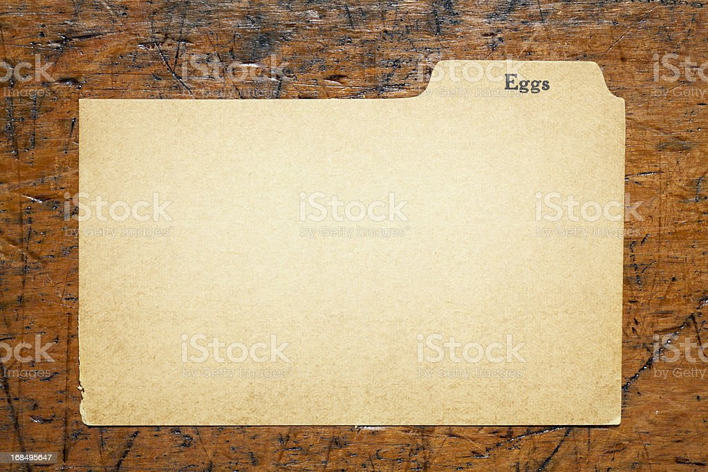 Antique Eggs Blank Index Recipe, Old Fashioned Paper Card Background royalty-free stock photo