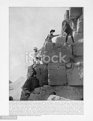 istock Antique Egypt Photograph: Climbing the Great Pyramid, Cairo, Egypt, 1893 673200200
