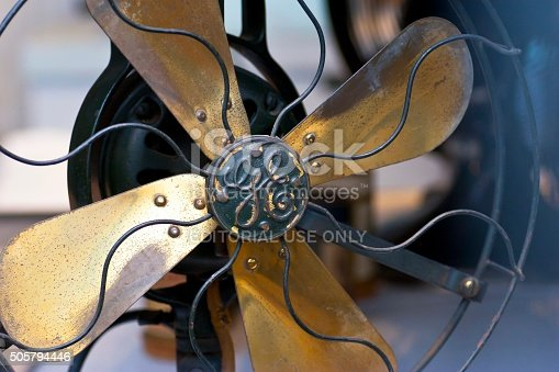 Sarasota, FL, USA – January 30, 2014: Close up of an electric fan from 1905 Made by General Electric, window display of an antique store in Sarasota, Florida, USA.