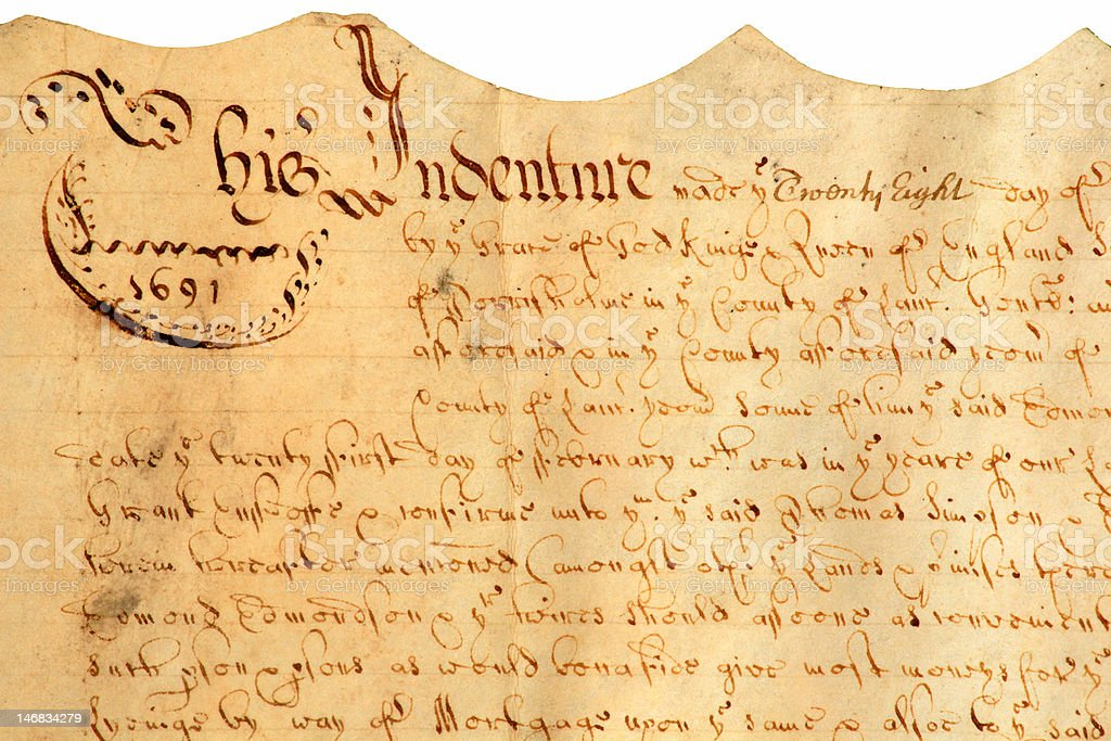Antique English Indenture. stock photo