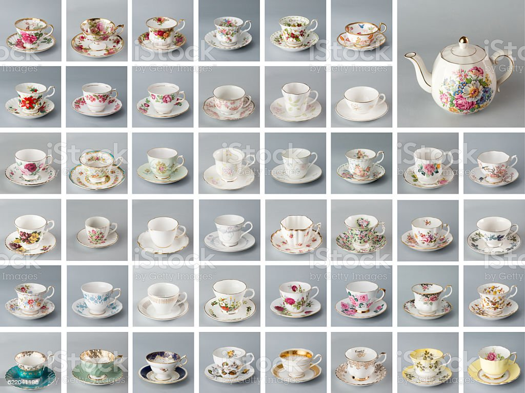 Antique English teacups and teapot stock photo