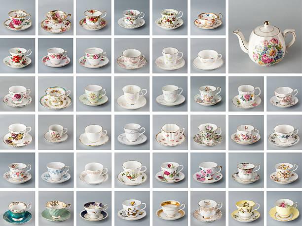 Antique English teacups and teapot stock photo