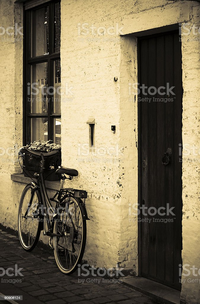 Antique European Doorfront with Bicycle 2 royalty-free stock photo