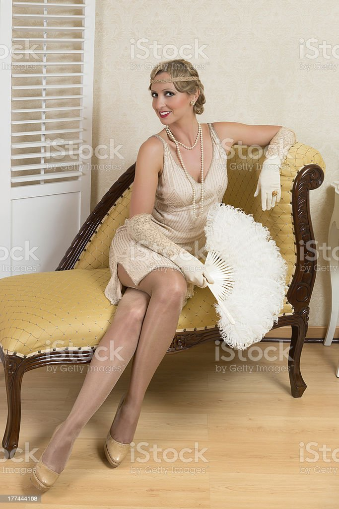 Antique fan and vintage lady royalty-free stock photo