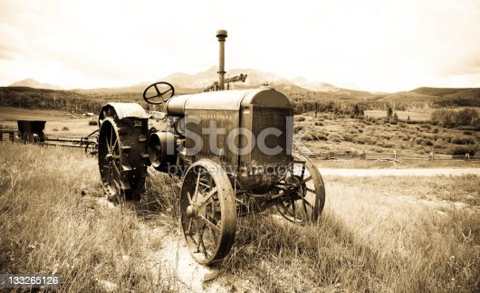 Vintage old tractor in the high Colorado Rocky Mountains