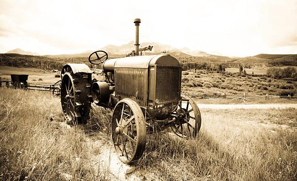 Antique Farm Tractor stock photo