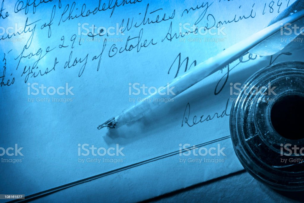 Antique Feather Quill, Inkwell and Letter royalty-free stock photo