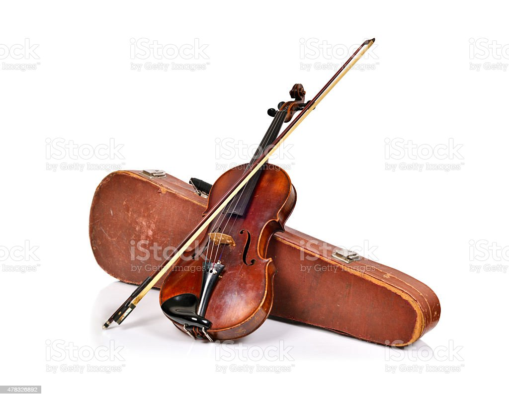 antique fiddle-case and violin stock photo