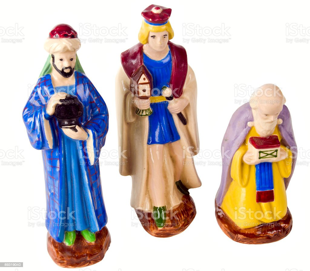 antique figurines from a 1950s christmas nativity scene isolated white royalty-free stock photo