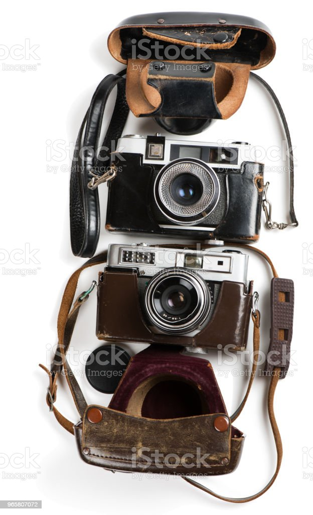 Antique film photo-cameras and cases. - Royalty-free Above Stock Photo