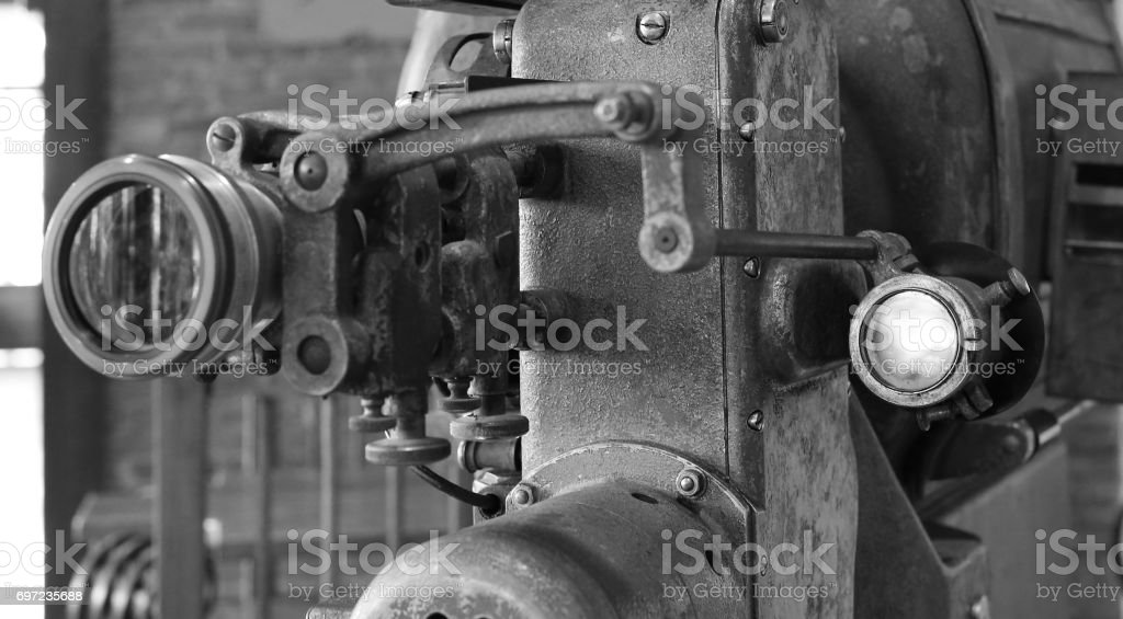 antique film projector in black and white style. stock photo
