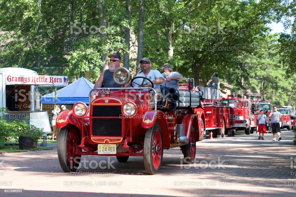 Antique fire truck parade stock photo
