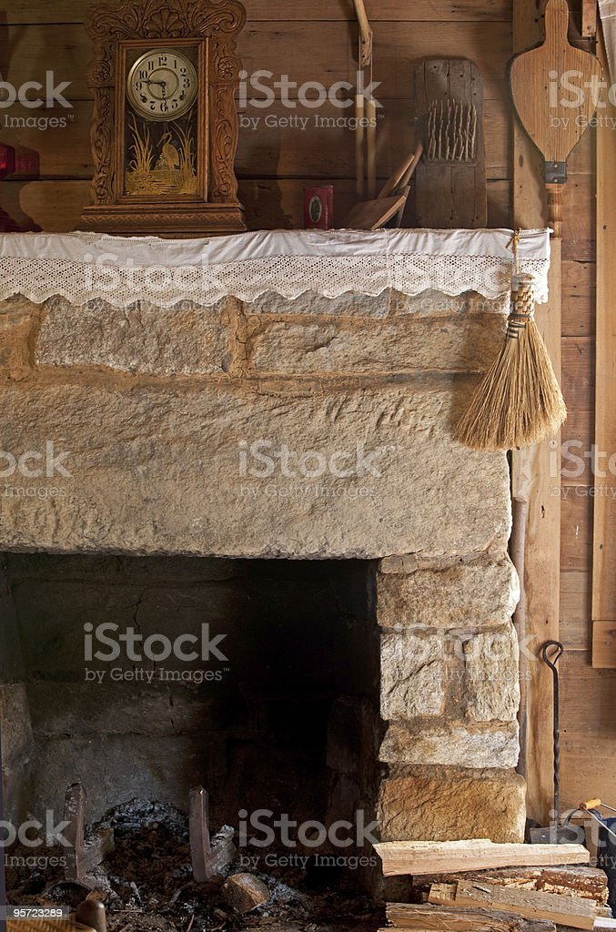 Antique fireplace and mantelpiece royalty-free stock photo