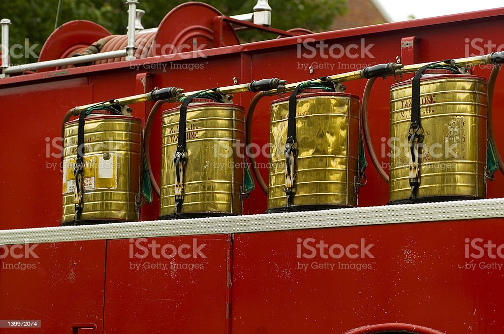 Antique Firetruck Water Packs royalty-free stock photo