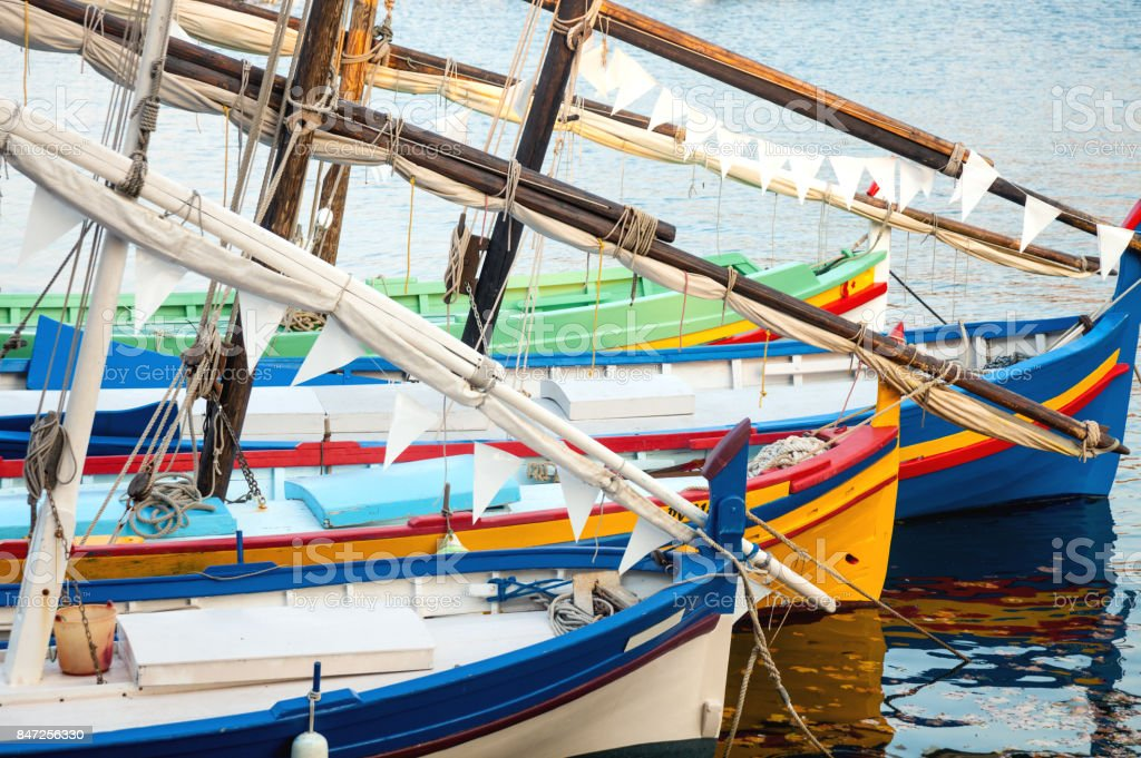 Antique fishermen sailboats, llauts, in the port of Collioure stock photo