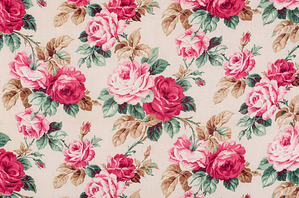 Antique floral fabric Close Up stock photo
