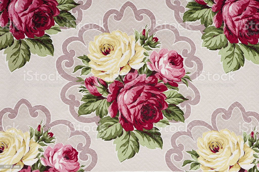 Antique floral fabric SB10 Close Up royalty-free stock photo