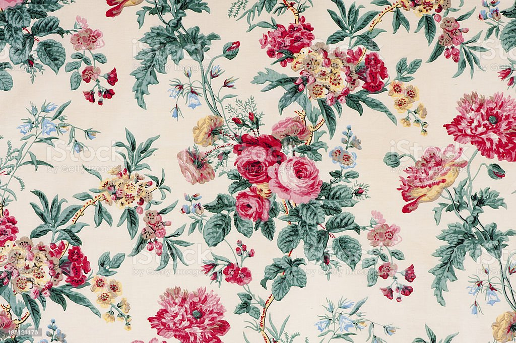 Antique floral fabric SB16 Close Up stock photo