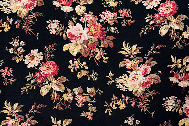 Antique Floral Fabric SB40 Close Up stock photo