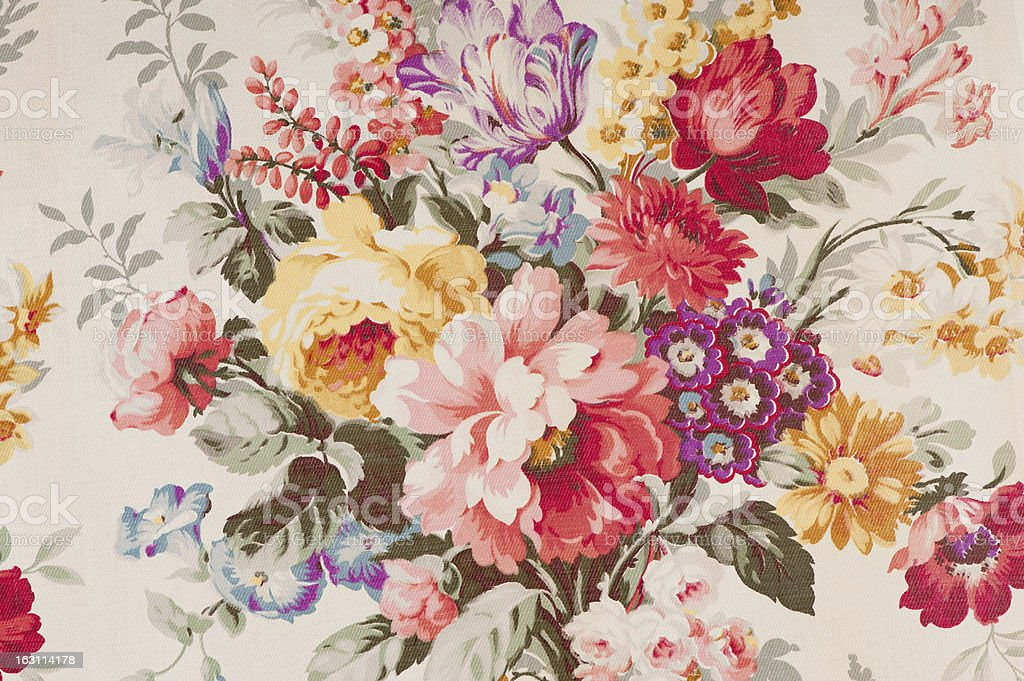 Antique floral fabric SB43 Close Up stock photo