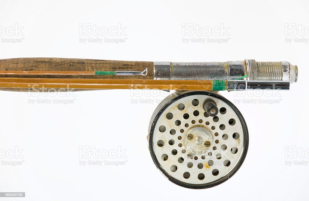 Antique Fly Fishing Rod and Reel royalty-free stock photo