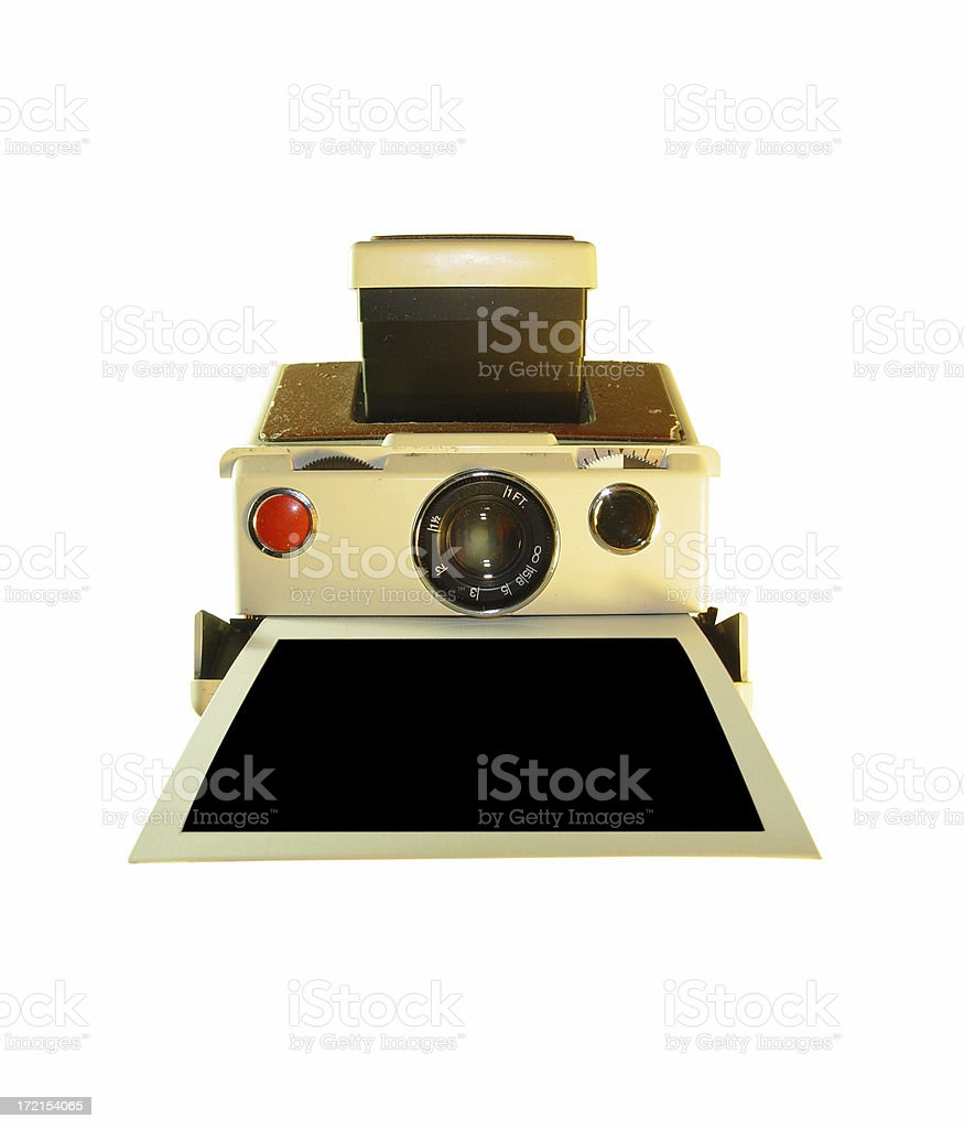 antique folding camera and film royalty-free stock photo
