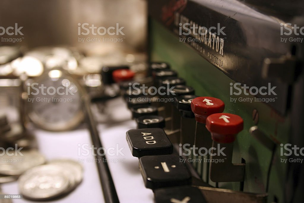 Antique for tax calculation, vintage accounting stock photo