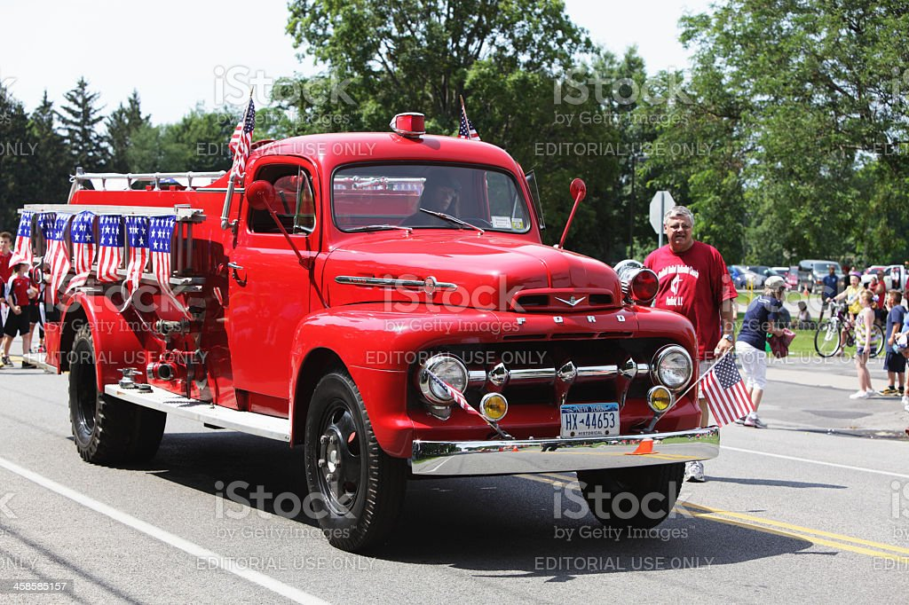 Antique Ford Fire Engine in July 4th Holiday Parade stock photo