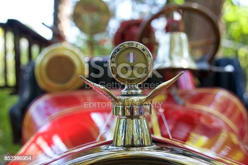 Millville, NJ, USA - August 20, 2017: Detail from an antique Ford Model-T fire truck at the 37th Annual Fire Apparatus Show and Muster at WheatonArts, in Millville, New Jersey.
