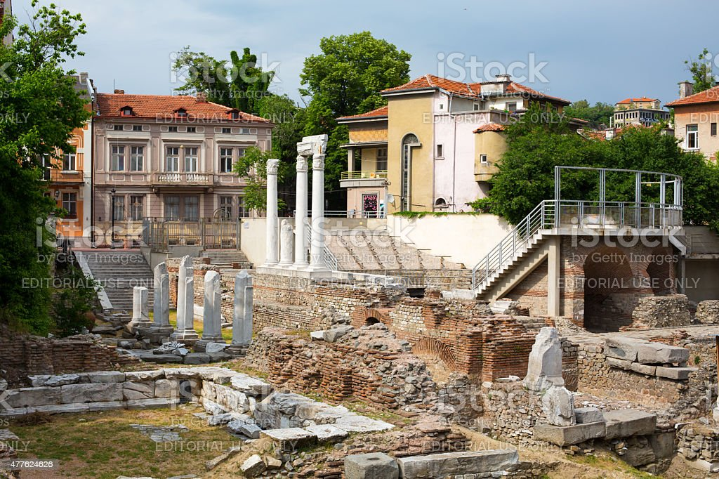 Antique Forum with Odeon in Plovdiv, Bulgaria stock photo