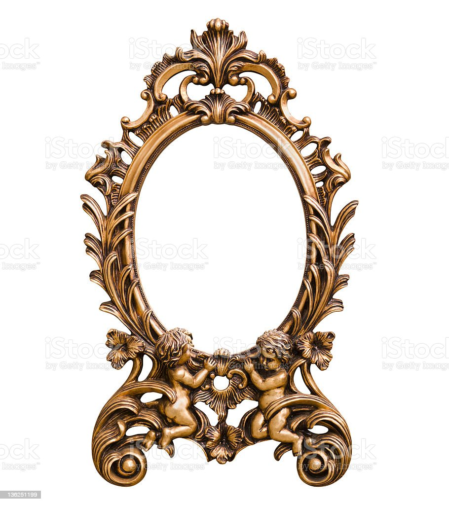 Antique Frame with Cherub (Clipping Path) royalty-free stock photo