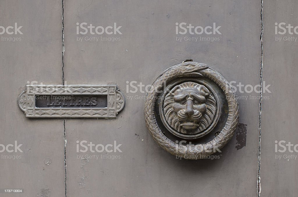 Antique French Door Knocker And Letterbox Stock Photo ...
