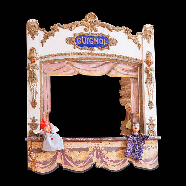 Antique French guignol isolated on black Clipping path included ventriloquist's dummy stock pictures, royalty-free photos & images