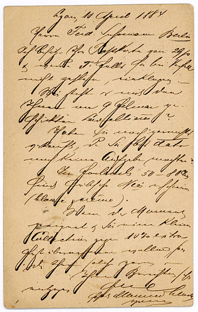 antique french letter handwriting old postcard - calligraphy stock photos and pictures
