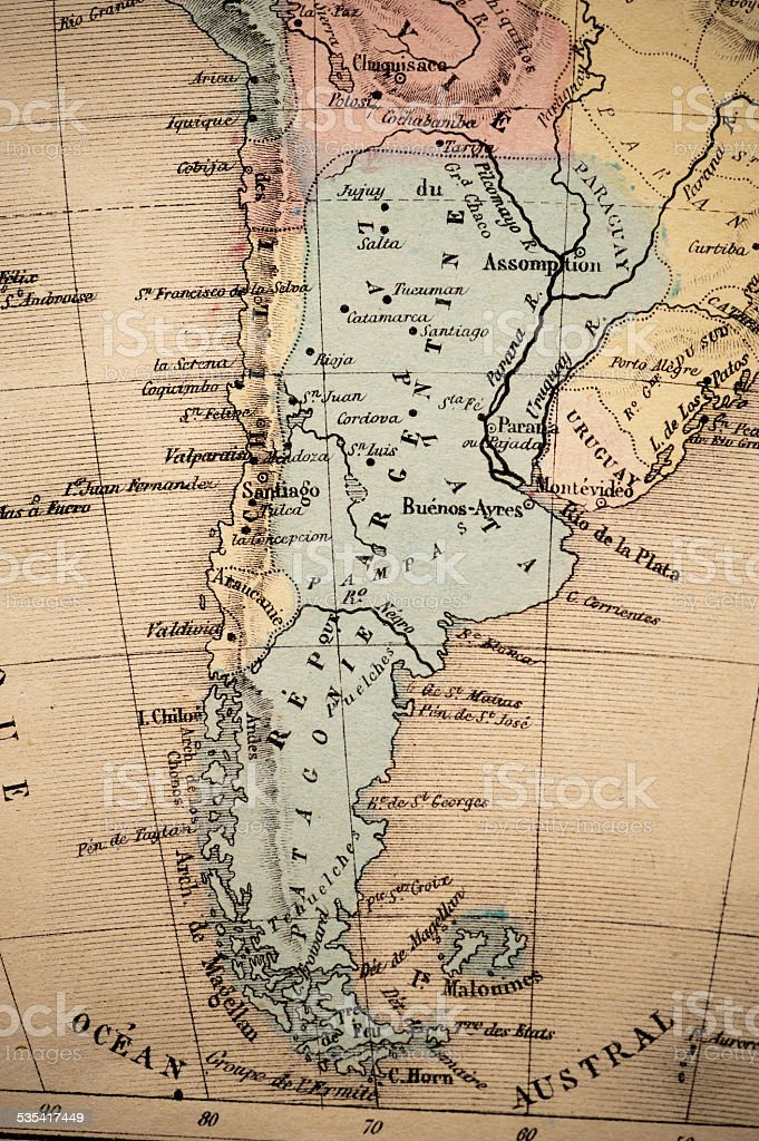 Antique French map of Argentina stock photo