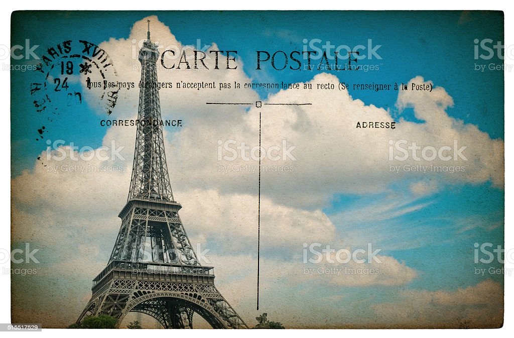 antique french postcard paris with eiffel tower and blue sky stock photo
