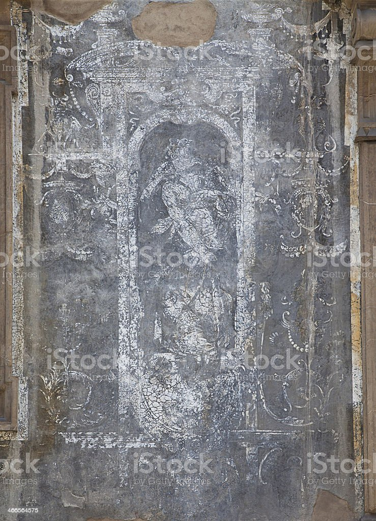 Antique fresco on the wall, closeup stock photo