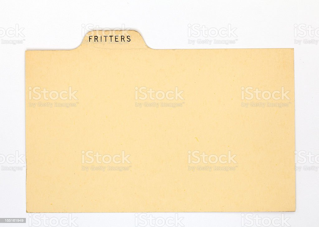 Antique Fritters Donut Index Recipe & Old Fashioned Card, Paper Background royalty-free stock photo