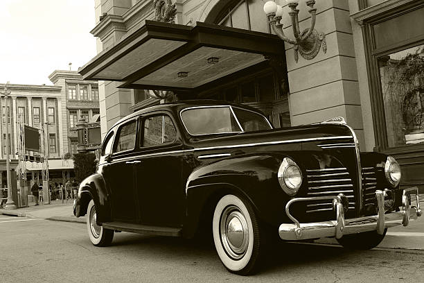 Antique Gangster Car Retro style antique car. gangster stock pictures, royalty-free photos & images