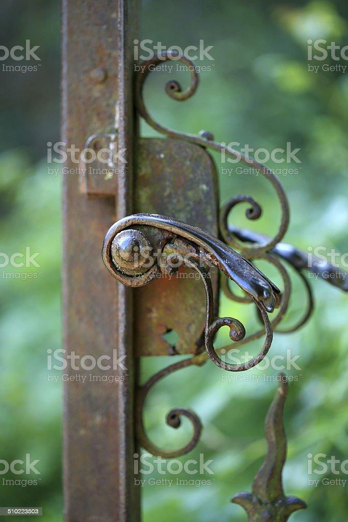 Antique garden gate stock photo