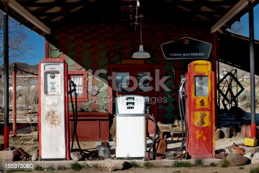 Old gas pumps, weathered and abandoned