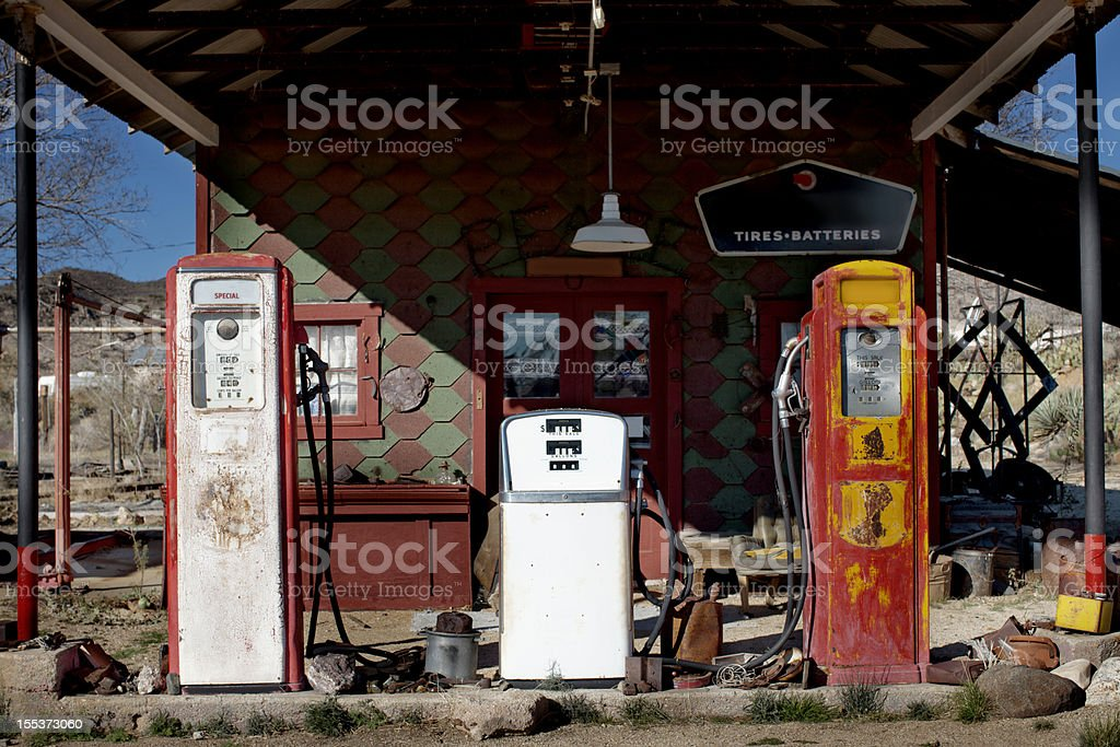 Antique gas station stock photo