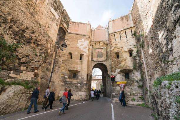 Antique gate of Castello quarter in Cagliari, Italy stock photo