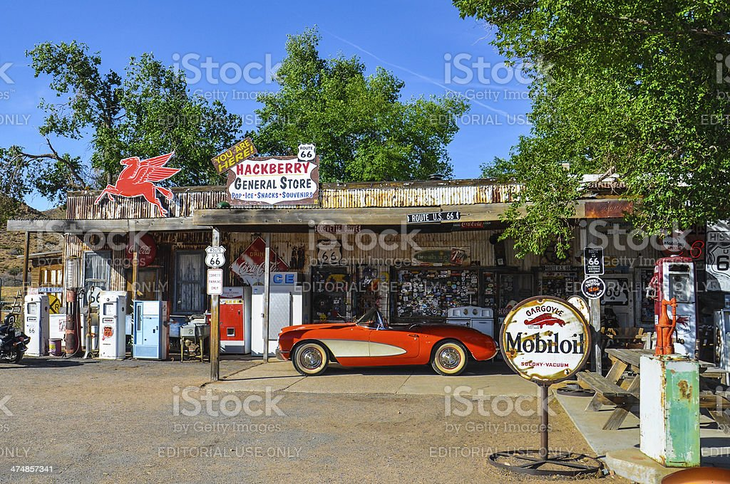 Antique General Store on Route 66 with Retro Vintage Pumps stock photo