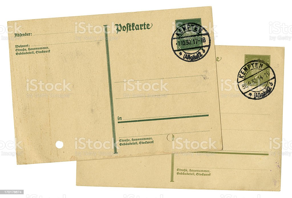 Antique German postcards from the 1930's royalty-free stock photo