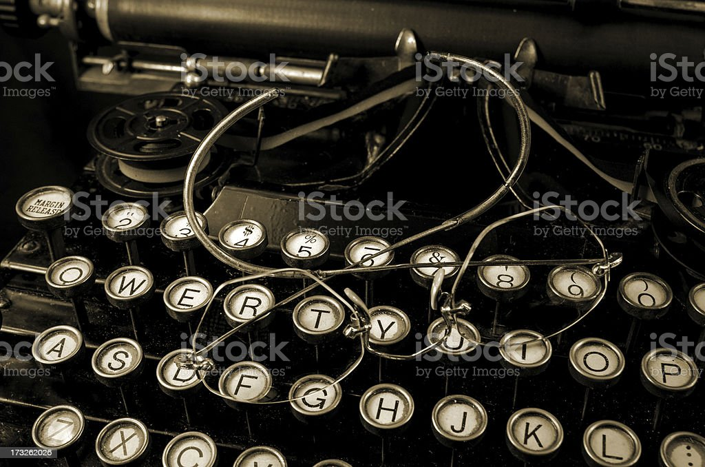 Antique Glasses and Typewriter royalty-free stock photo