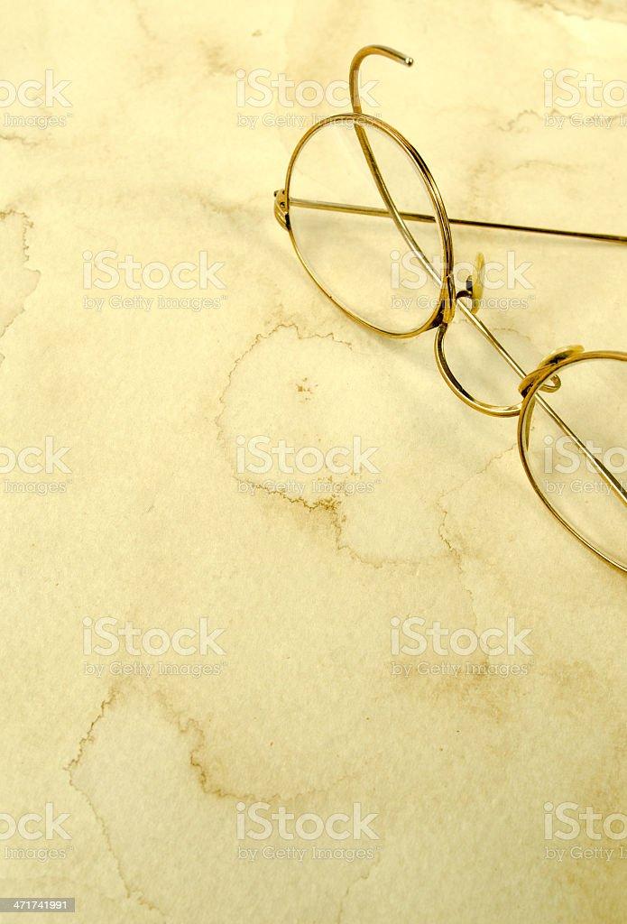 Antique Glasses on Grunge royalty-free stock photo