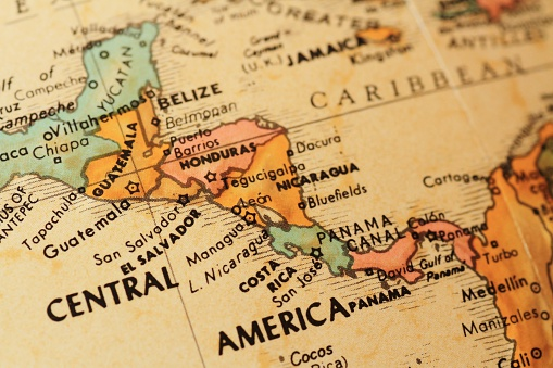 Close up of an antique globe focusing on the countries that make up Central America.